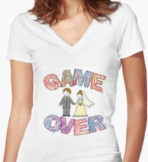 Funny wedding, Game Over. Women's Fitted V-Neck T-Shirt