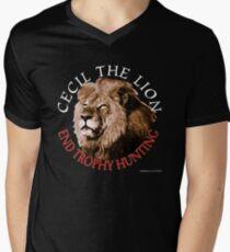 Cecil der Löwe T-Shirt mit V-Ausschnitt für Männer