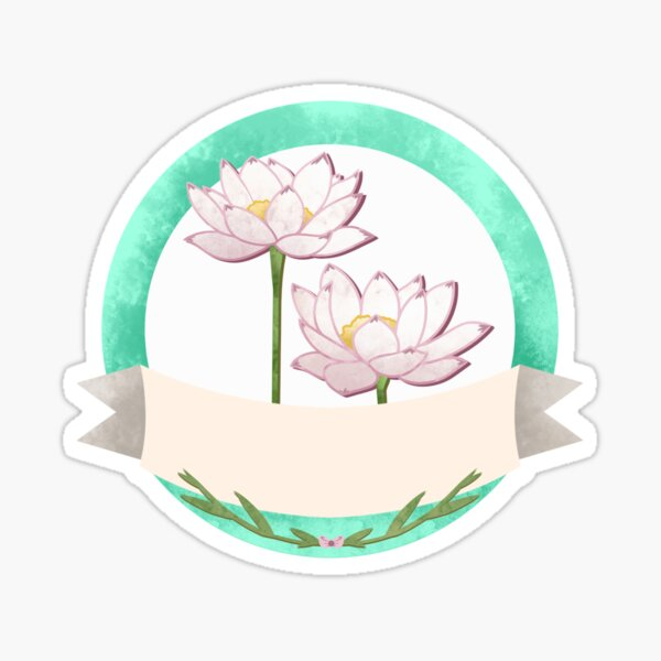 Flower Label Lotus  Sticker