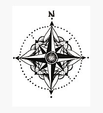 Dotwork Compass Mandala Photographic Print