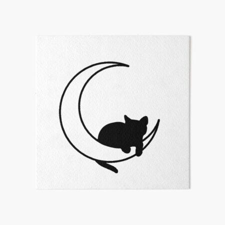 Moon + Cat Art Board Print