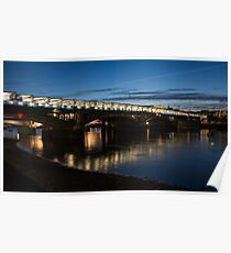 Midnight Lights on the Thames River - Blackfriars Bridge, London, UK Poster
