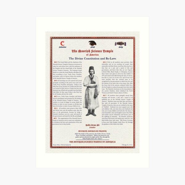 Divine Constitution & By-Laws Moorish Science Temple 1928 Linen Pulp Art Print