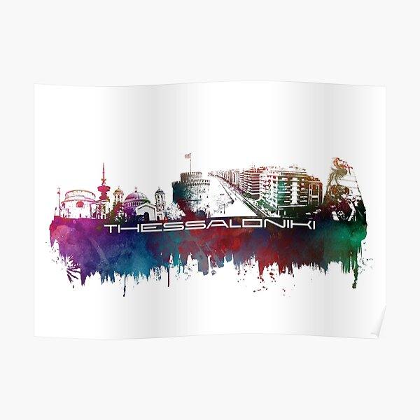 Thessaloniki skyline city blue Poster