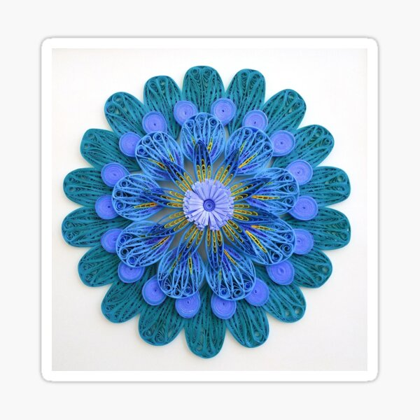 Paper Quilling Blue Shades Mandala Sticker