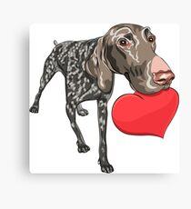 Kurzhaar with red heart Canvas Print