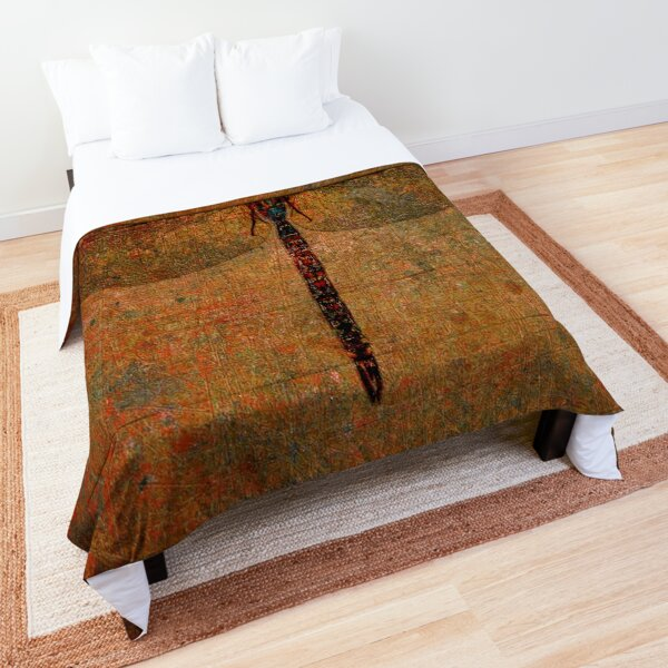 Dragonfly on Distressed Brown Stone Background. Comforter