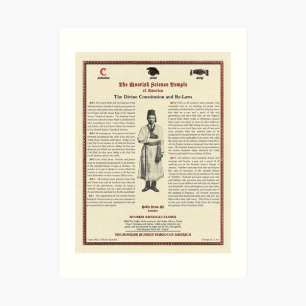 Divine Constitution & By-Laws Moorish Science Temple 1928 Calligrapher Pulp Art Print