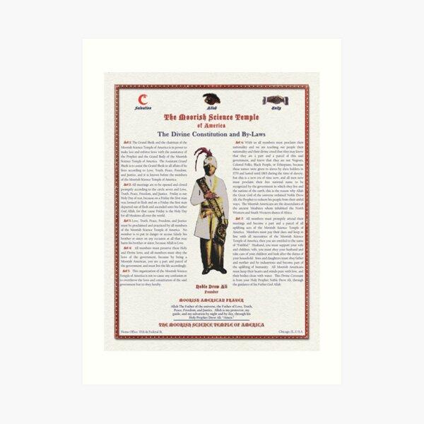 Divine Constitution & By-Laws Moorish Science Temple 2020 Linen Pulp Art Print