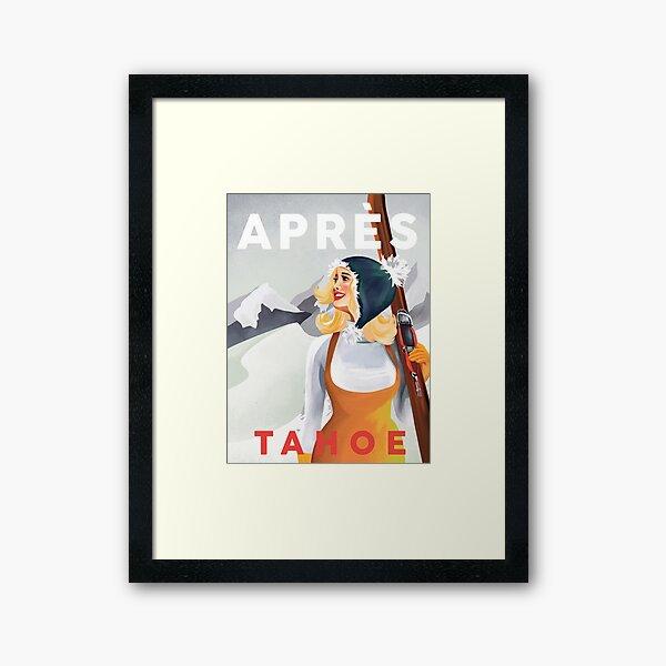 """""""Apres Ski Lake Tahoe, California"""" Cute Retro Pinup Girl Skiing Framed Art Print"""