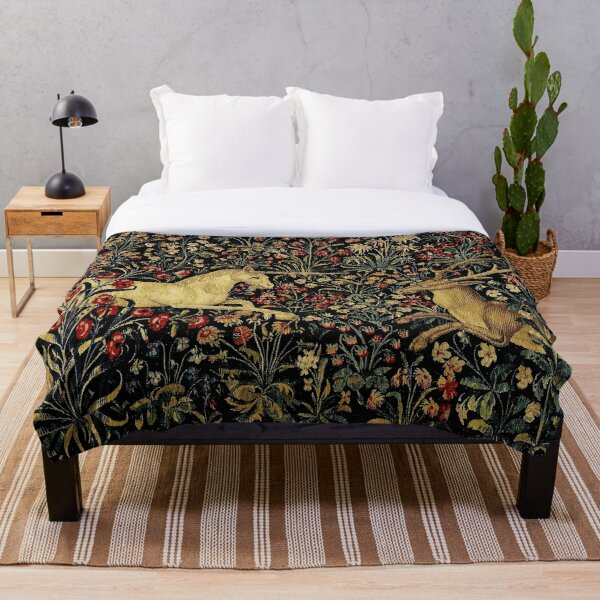 Medieval Unicorn Midnight Floral Tapestry Throw Blanket