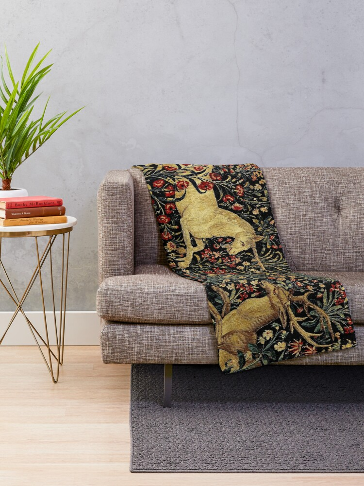Alternate view of Medieval Unicorn Midnight Floral Tapestry Throw Blanket