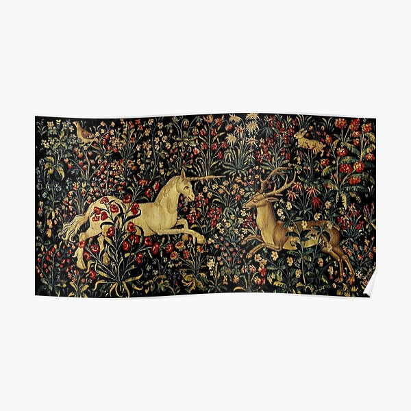Medieval Unicorn Midnight Floral Tapestry Poster