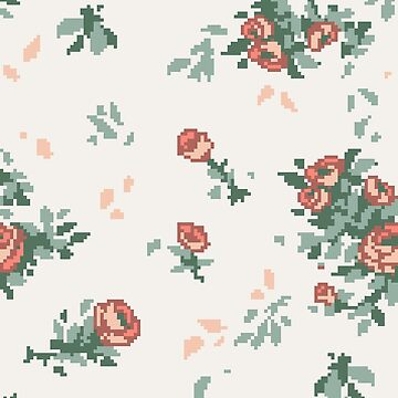 Pixel Floral Leggings by theCatghost