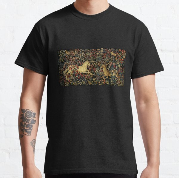 Medieval Unicorn Midnight Floral Tapestry Classic T-Shirt