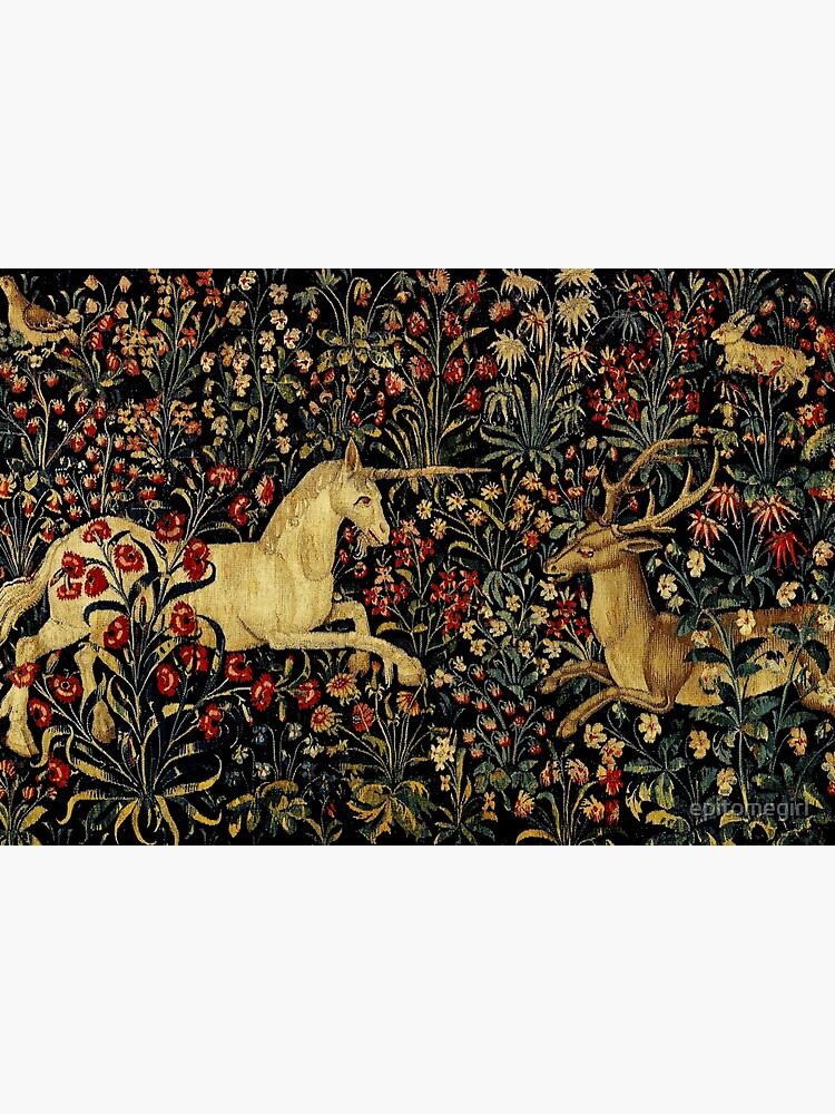 Medieval Unicorn Midnight Floral Tapestry by epitomegirl