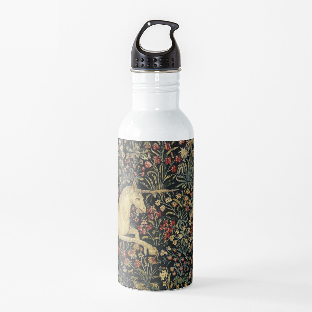 Medieval Unicorn Midnight Floral Tapestry Water Bottle