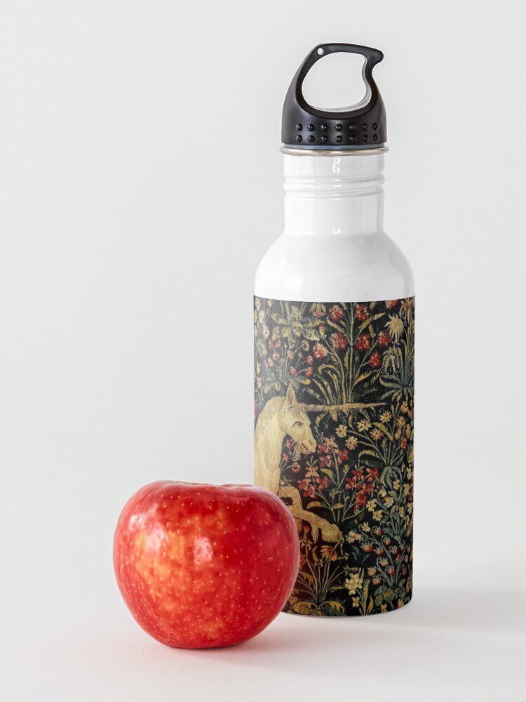 Alternate view of Medieval Unicorn Midnight Floral Tapestry Water Bottle