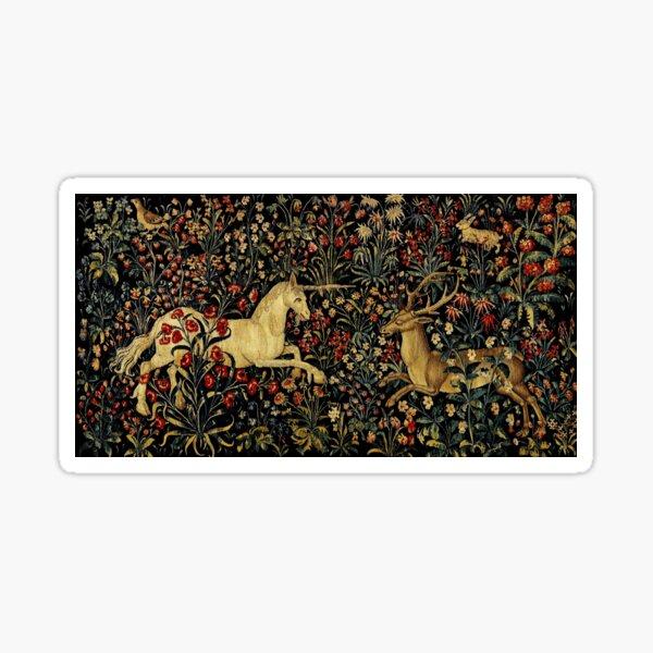 Medieval Unicorn Midnight Floral Tapestry Sticker