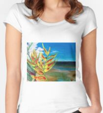 Heliconia Tropical Parrot Plant Take Me There Women's Fitted Scoop T-Shirt