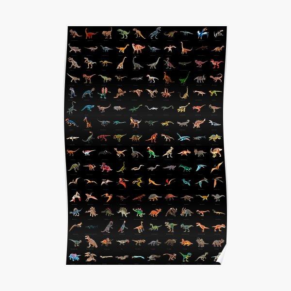 Dinosaur Poster (with names) V2 Black Poster
