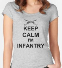 Keep Calm I'm Infantry - Black Women's Fitted Scoop T-Shirt