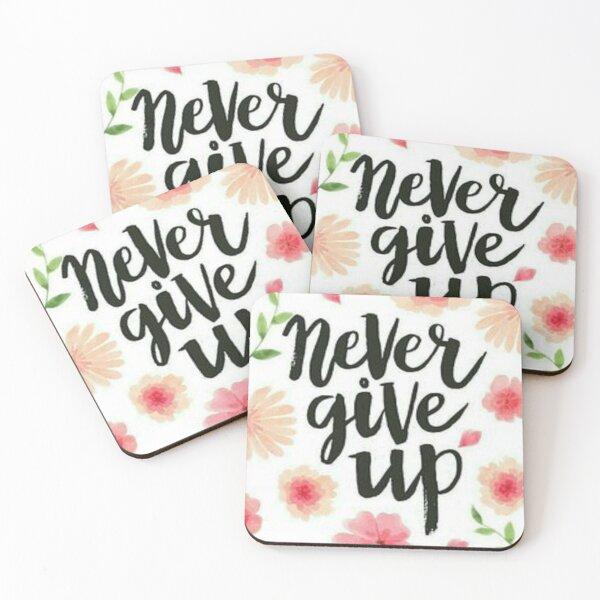 never give up Dessous de verre (lot de 4)