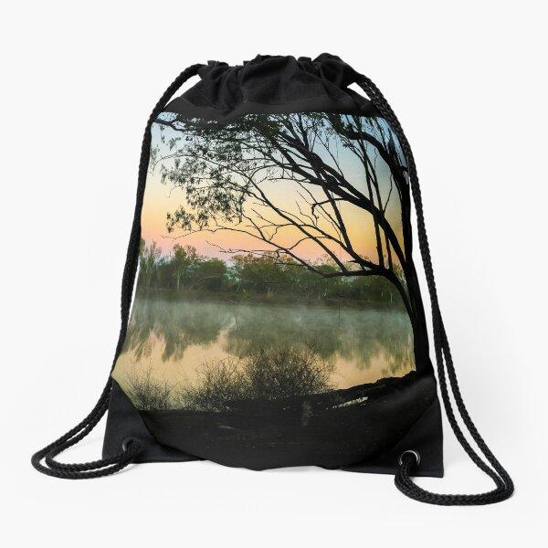 Full moon setting over misty lake Drawstring Bag
