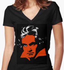 Camiseta entallada de cuello en V Una Naranja Mecánica. Beethoven.