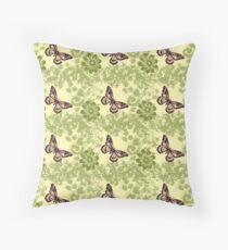 Green Vintage Look Butterfly Pattern Throw Pillow