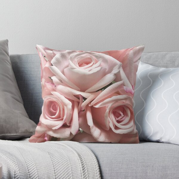 Pastel Pink Roses on White Neutral Background Throw Pillow