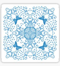 Blue 'n White Butterfly Medallion Sticker