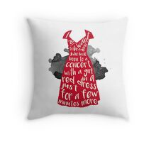 A Girl in a Red Dress Throw Pillow