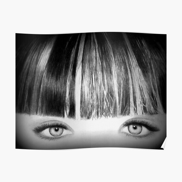 Black and White Pencil Drawing Eyes by IV Poster