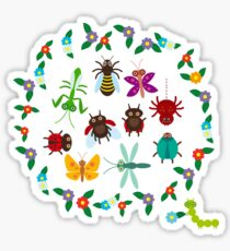 Funny insects circle Sticker