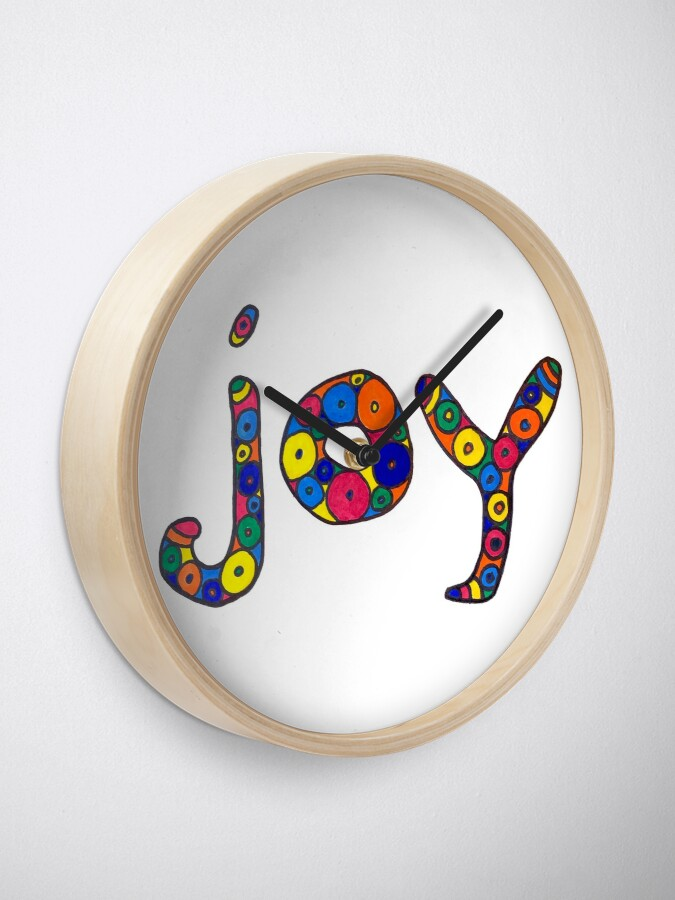 """Alternate view of word """"joy"""" in colorful circles Clock"""