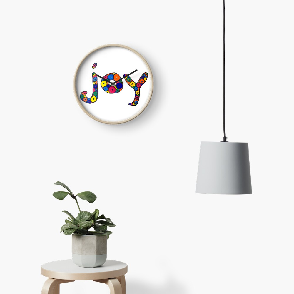 "word ""joy"" in colorful circles Clock"