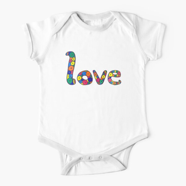 """word """"love"""" in colorful circles Short Sleeve Baby One-Piece"""