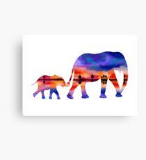 Elephant  Sunset  Silhouette  Canvas Print