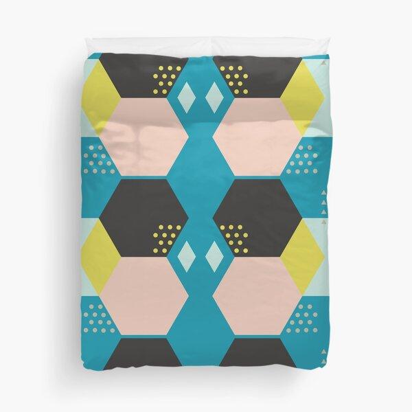 Bluish Black Hexagonal Abstract Duvet Cover