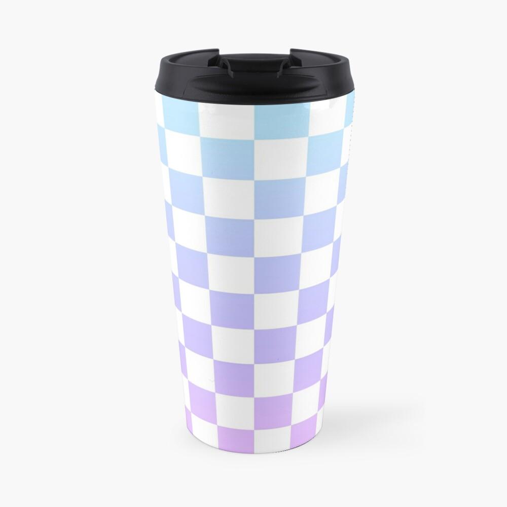 Blue and Purple Checkered Pattern Travel Mug