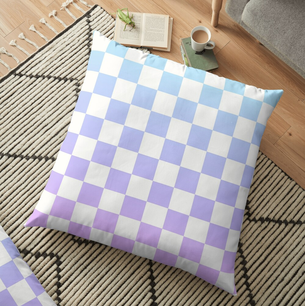 Blue and Purple Checkered Pattern Floor Pillow