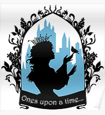 Beautiful  princess silhouette with singing bird Poster