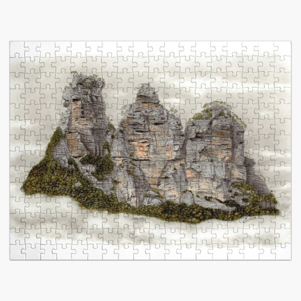 III Three Sisters Blue Mountains Original Watercolour Pencil Drawing Jigsaw Puzzle
