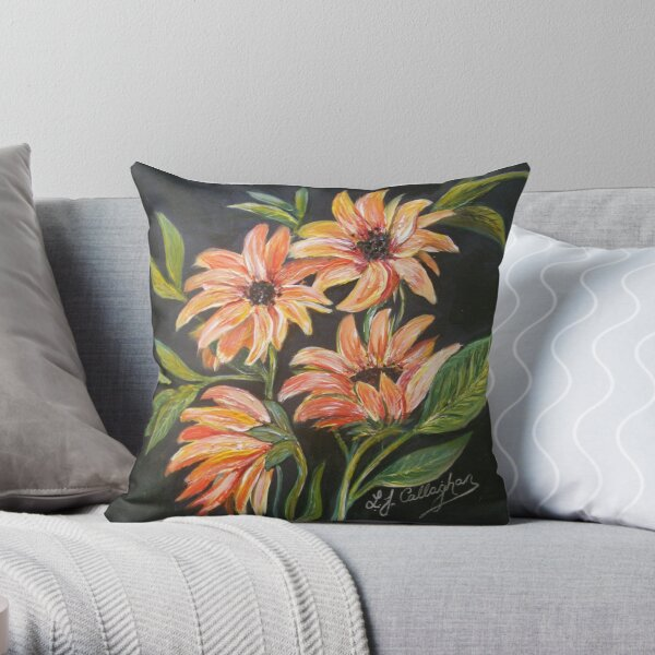 Sunburst Flowers Throw Pillow