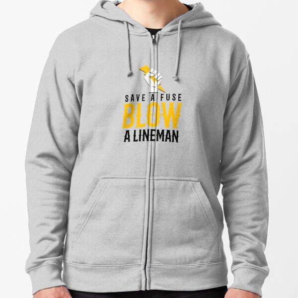 Lineman Hook It Hoodie fleece lined sweat shirt front Hook it and back Lineman climbing pole