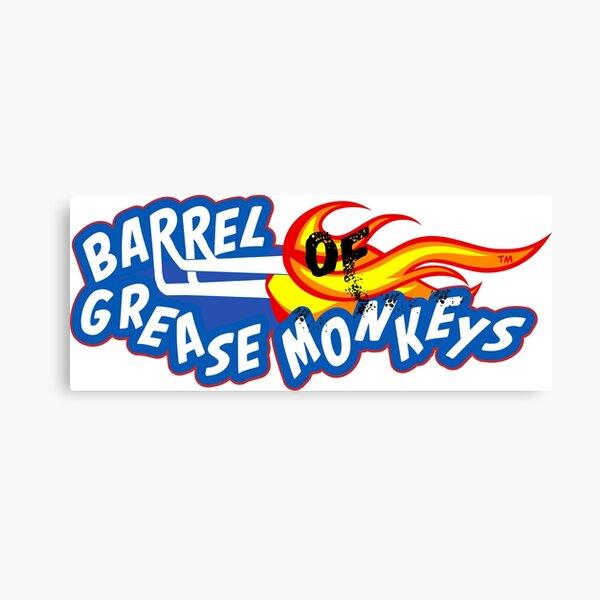 Burnt Barrel Of Grease Monkey's Logo Canvas Print