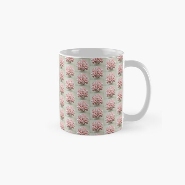 Country Pastel Pink Roses Small Pattern on Neutral Background Classic Mug