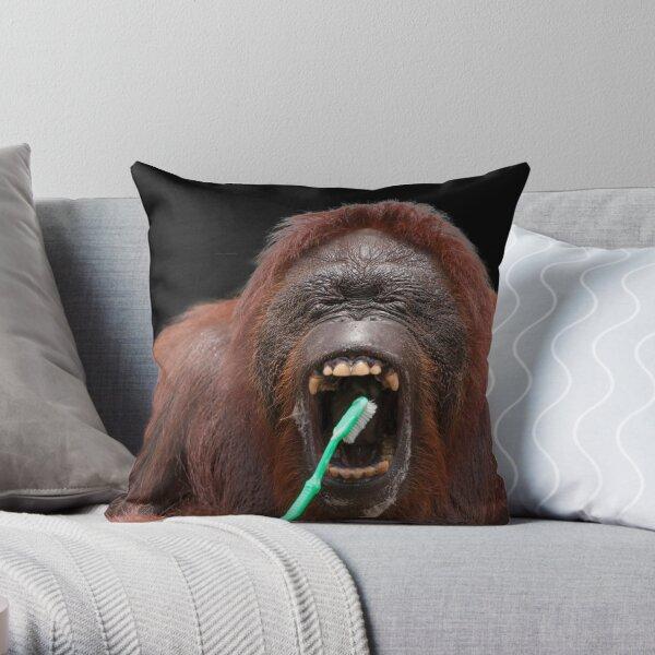 Orangutan Oral Hygiene 02 Throw Pillow