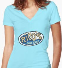 Rico's Surf Shop Logo Women's Fitted V-Neck T-Shirt